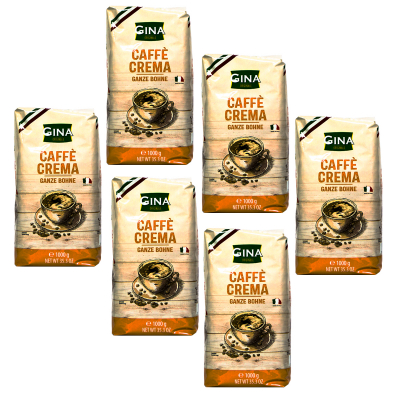 Gina caffè crema koffiebonen 6 x 1 kilo
