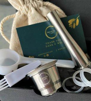 BrewingCaps hervulbare Nespresso cup inclusief accessoires