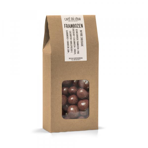 Frambozen in pure chocolade 250 gram