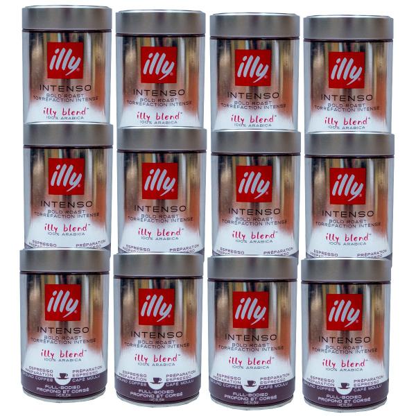 Illy Zwart / Intenso (donkere branding) gemalen koffie 12 x 250 gram