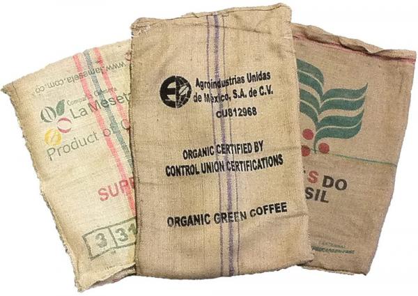 Gebruikte jute koffiezakken (10 stuks)