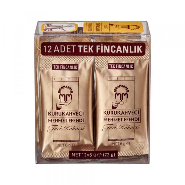 Turkse koffie Kurukahveci Mehmet Efendi 12x6 gram gemalen koffie