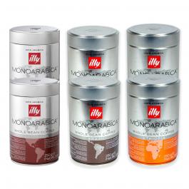 illy koffiebonen Monoarabica proefpakket 6 x 250 gram