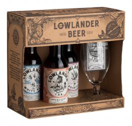 Lowlander geschenkverpakking bierpakket met gratis glas