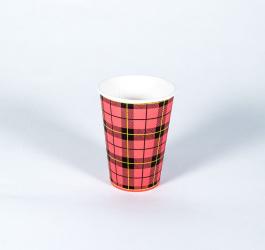 100 stuks kartonnen koffiebekers 'schotse ruit' (180cc/7oz)