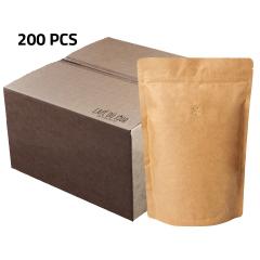 Doos koffiezak Kraft hersluitbaar/zipper met ventiel (200 x 1000 gram)