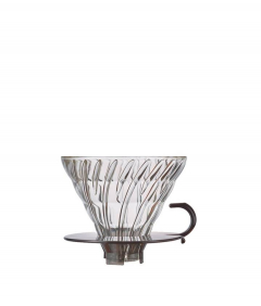 Hario V60 dripper glas transparant zwart maat 02