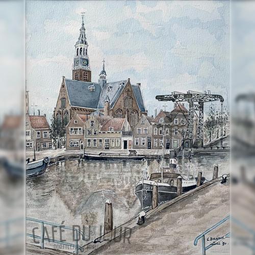 Kerkeiland in Maassluis geschilderd door Cees Bregman